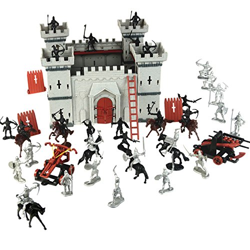 DIY Castle Building The Medieval Times Middle Ages Military Plastic Fort Model Kit Set With Figures Soldier Knight Simulated Siege War of Attack