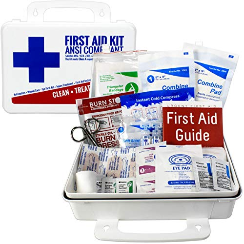 OSHA & ANSI First Aid Kit, 25 Person, 74 Pieces, Indoor/Outdoor Emergency Kit for Office, Home or Car, ANSI 2015 Class A/Types I & II, Gasketed for Moisture & dust, Made in USA by Urgent First Aid