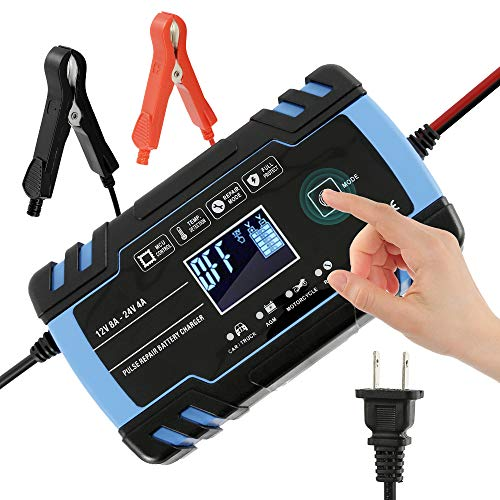 WarmCare Battery Charger 12V/8A 24V/4A Automatic Smart Battery Charger Pulse Repair Charger with LCD Display, Finger Touch Charging Mode Overvoltage Protection for Car, Truck, Motorcycle, Boat, SUV