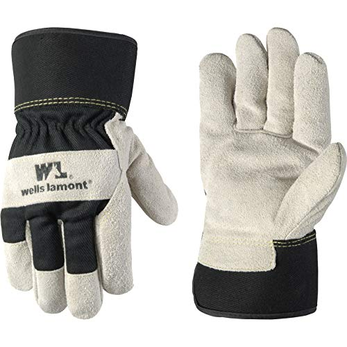 Wells Lamont Men's Heavy Duty Leather Palm Winter Work Gloves with Safety Cuff (Wells Lamont 5130XL), Black