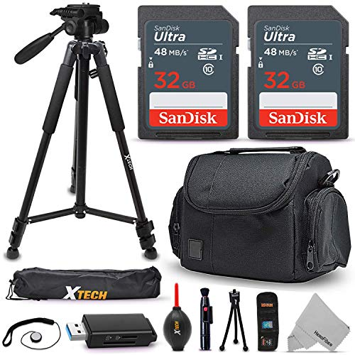 "Universal Camera Accessories Kit, Includes: 64GB SD Memory, Premium Case/Bag, 60"" Tripod + Accessory Bundle, Compatible w/Canon, Nikon, Sony, Coolpix, PowerShot Rebel Digital & DSLR Cameras"