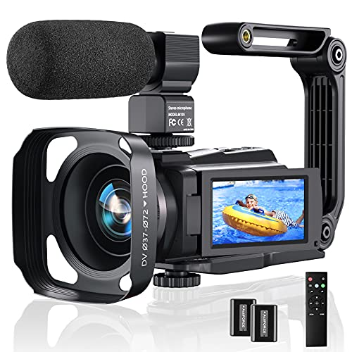4K Video Camera Camcorder, 48MP 60FPS YouTube Camera WiFi IR Night Version Vlogging Camera 3.0 Inch Touch Screen 16X Zoom Digital Video Camera Recorder with Microphone, 2.4G Remote, Lens Hood