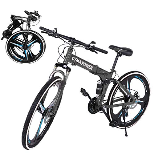 26 Inch Bikes Folding Bicycle Mountain Bike Dual Disc Brake, 21-Speed, Lightweight and Durable for Men Women Bike (Black1)