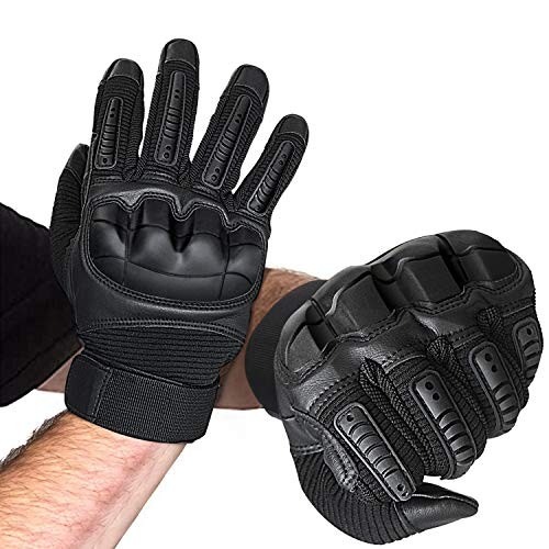 vilcome Knuckle Tactical Gloves, Full Finger Touch Screen Gloves for Shooting Airsoft Paintball Motorcycle Climbing and Heave Duty Work for Men and Women (Large)