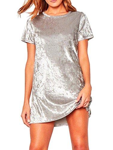R.Vivimos Women's Summer Short Sleeve Crushed Velvet Mini Short Dresses (Large, Silver)