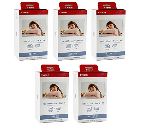 Canon KP-108IN Color Ink and 4 x 6 Paper Set, 108 Count (Pack of 5)