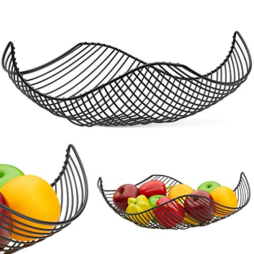 Vistella Fruit Bowl Basket in Matte Black - 6 Colors Available - Stainless Steel Wire Design with Modern Styling - Decorative Countertop Centerpiece