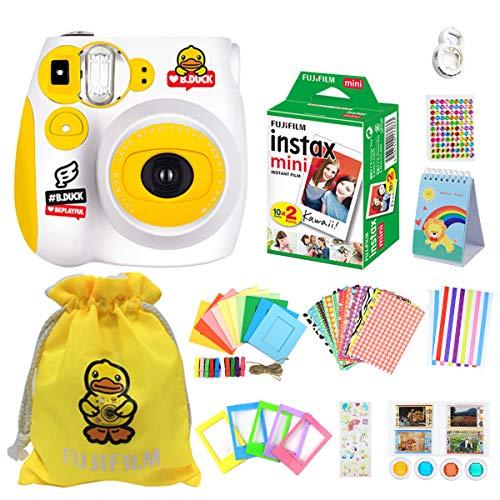 ISOSOJOY Fujifilm Instax Mini7c Yellow Camera +Toy bathduck Set+Fuji Instax Mini Film + Instax Mini 7c Case + Instax Accessories Kit Bundle, Instant Camera Gift Sets - Yellow Rubber bathduck