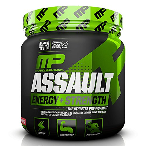 MusclePharm Assault Sport Pre-Workout Powder with High-Dose Energy, Focus, Strength, and Endurance, Strawberry Ice, 30 Servings