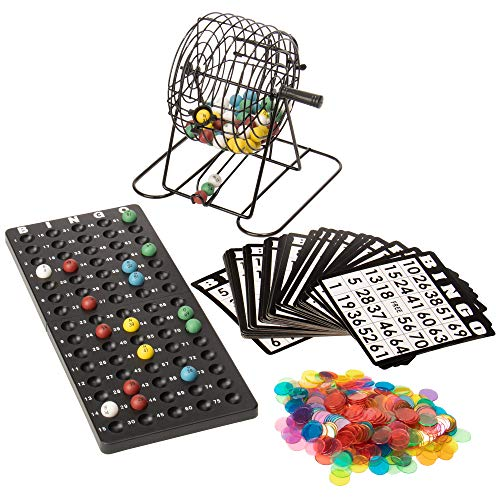 Deluxe Bingo Set - 6-Inch Roller Cage, Master Board, 75 Multicolored Balls, 300 Chips, & 50 Cards - Classic Fun & Party Games for Seniors, & Family