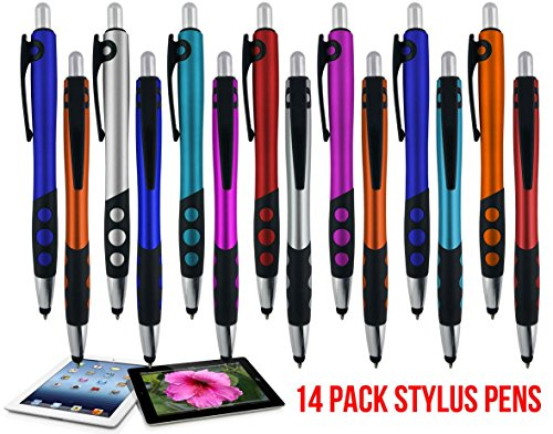 Stylus pen for touch screen devices with Ball Point Pen,for Universal Touch Screen Devices, for phones, Ipads,Tablets, iphone, Samsung Galaxy etc,Assorted Colors (14 Pack)
