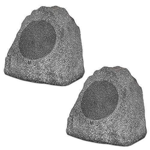 Theater Solutions 2R8G Outdoor Granite 8' Rock 2 Speaker Set for Deck Pool Spa Yard Garden, Granite Grey