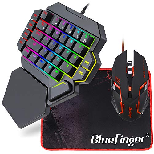 BlueFinger RGB One Hand Mechanical Gaming Keyboard and Backlit Mouse Combo,USB Wired Rainbow Letters Glow Single Hand Mechanical Keyboard with Wrist Rest Support, Gaming Keyboard Set for Game
