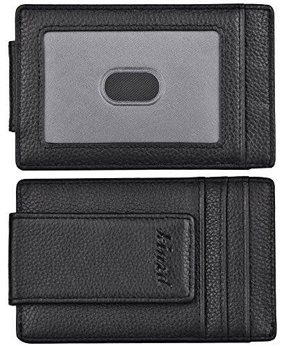 kinzd Money Clip, Front Pocket Wallet,Leather RFID Blocking Strong Magnet thin Wallet, A Litch Pattern Black, One Size