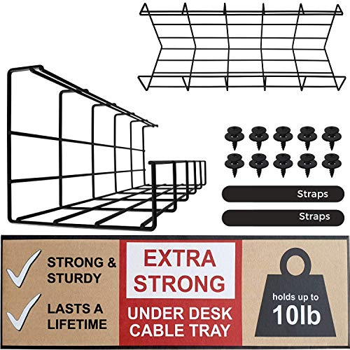 Under Desk Cable Management Tray - Under Desk Cable Organizer for Wire Management. Super Sturdy Desk Cable Tray. Perfect Standing Desk Cable Management Rack (Black Wire Tray - Set of 2x 16'')