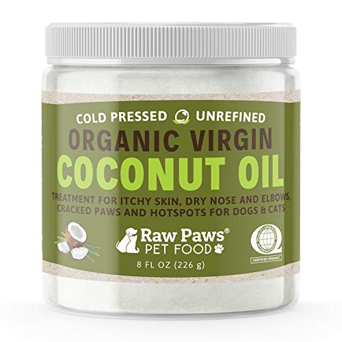 Raw Paws Organic Coconut Oil for Dogs & Cats, 8-oz - Treatment for Itchy Skin, Dry Nose, Paws, Elbows, Hot Spot Lotion for Dogs, Natural Hairball Remedy for Dogs & Cats