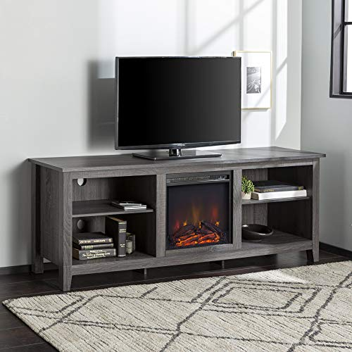 Walker Edison Furniture Company Minimal Farmhouse Wood Fireplace Universal Stand for TV's up to 80' Flat Screen Living Room Storage Shelves Entertainment Center, 70 Inch, Charcoal