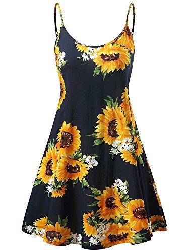 MSBASIC Womens Flowy Dress, Hawaiian Dresses for Women Sunflower1 XL