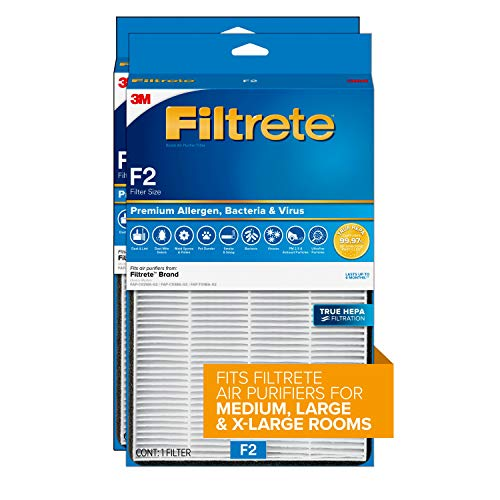 Filtrete True HEPA Premium Allergen, Bacteria, & Virus Room Air Purifier Filter F2 13'x8.2' 2-Pack
