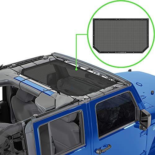 Alien Sunshade Jeep Wrangler Durable Polyester Mesh Shade Top Cover Provides UV Sun Protection for Your 2-Door or 4-Door JK or JKU (2007-2017) Original Black Unrivalled 10 Year Warranty