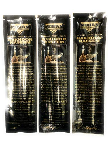 Mohan Incense Sticks -Bakhoor Naseem Pack of 250 Sticks (9.2 Inches Tall) - Makers of The World Famous Khush (Kush) Scent - Premium Pure Charcoal Incense Hand Rolled