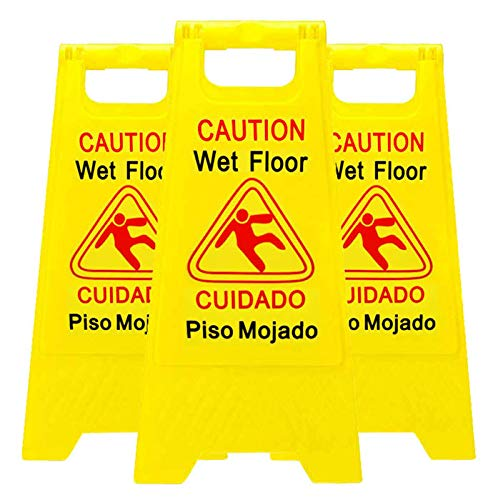 Reliable1st 3 Packs Caution Wet Floor Sign | 2-Sided Bilingual Sign | Cuadado Piso Mojado| Avoid Fall & Slip Accident