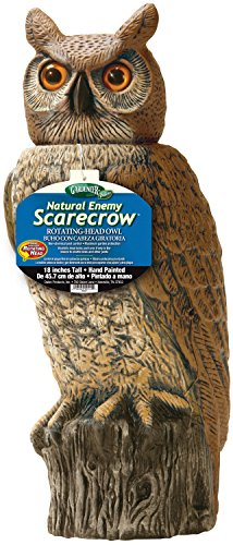 Gardeneer 784672887786 Dalen RHO4 Natural Enemy Scarecrow Rotating Head Owl, 18 In. H, Brown, Colors may vary