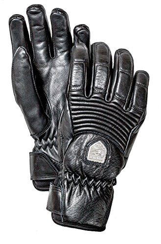 Hestra Womens Ski Gloves: Fall Line Leather Cold Weather Winter Gloves, Black, 6