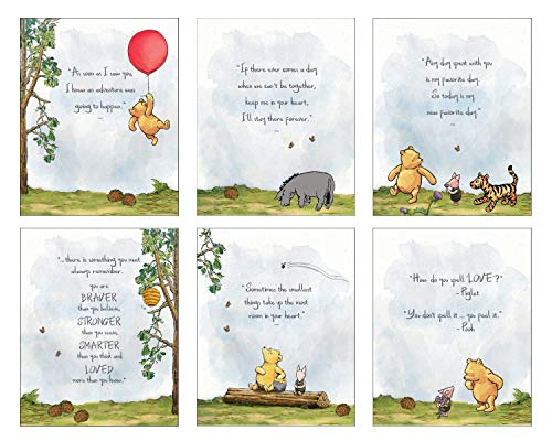 Winnie The Pooh Art Prints - Set of 6 (8 inches x 10 inches) Baby Shower Decorations, Nursery Wall Art Decor - Baby Bedroom, Kids Playroom Decor