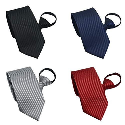 BESMODZ Men's Lot 4 PCS Zipper Ties Pretied Adjustable Striped Silk Zip Neckties
