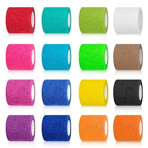 """(16-Pack) 2""""x 5 Yards Self Adhesive Bandage Wrap, Breathable Vet Wrap Cohesive Bandage First Aid for Pets, Athletic Elastic Self Adherent Wrap for Sports Injury: Wrist, Knee & Ankle Sprains"""