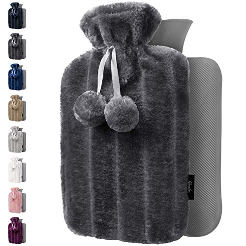 Hot Water Bottle with Soft Cover - 1.8L Large - Hot Water Bag for Pain Relief, Cramps, Back, Neck, Feet, Menstrual Cramps, Baby - Premium Cute Cover - Great Gift for Women (Dark Grey)