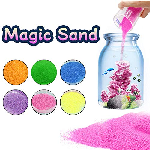 BRXY 6 Pack Magic Sand - Space Sand Hydrophobic Sand Play Sand Colored Sand Toys for Kids & Adults-6