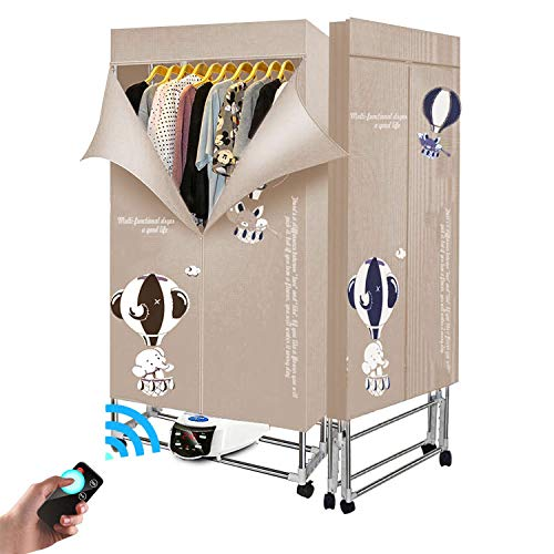 E-HEELP Clothes Dryer Portable 3-Tier 1.7 Meters Foldable Clothes Drying Rack Energy Saving (Anion) Clothing Dryers Digital Automatic Timer with Remote Control for Apartment Houses(Grey)