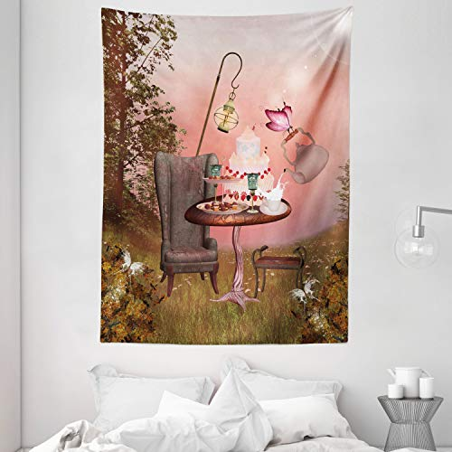Ambesonne Surrealistic Tapestry, Birthday Alice in Wonderland with Cake Butterfly in Forest Cartoon Art, Wall Hanging for Bedroom Living Room Dorm, 60' X 80', Pale Coral