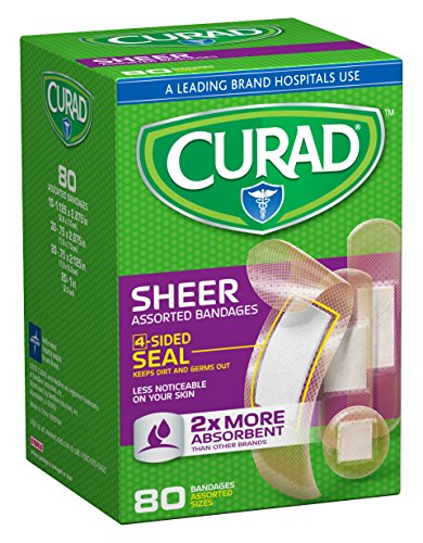 Curad Sheer Bandages, Assorted Sizes, 80 count (Pack of 4)