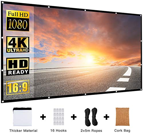 Projector Screen 120 Inch,Portable Movie Screen for Outdoor,16:9 HD 3D 4K,Foldable,Anti-Crease,Outdoor Indoor,Support Double Sided Projection,with a Cork Bag