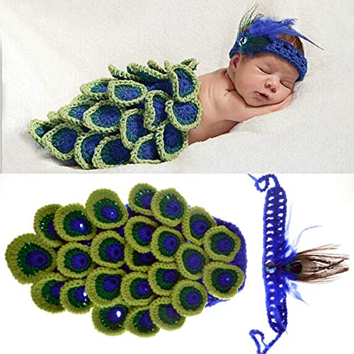 Newborn Baby Peacock Photography Costume Prop 0-3 Months Boys Girls Crochet Peacock Tail and Headband Outfits