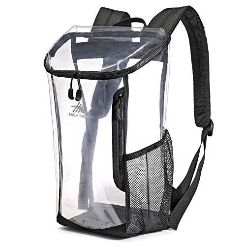 High Sierra Clear Toploader Backpack, Stadium Approved Clear Backpack, Black
