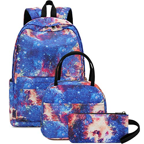 BLUBOON School Backpack Teens Girls Boys Kids School Bags Bookbag with Lunch bag pencil pouch (Red-Blue)