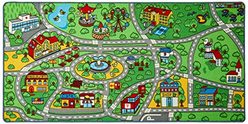 "Click N' Play City Life Kids Road Traffic Play mat Rug Extra Large Non-Slip Carpet Fun Educational for Play Area Playroom Bedroom-Extra Large 79"" x 40"""