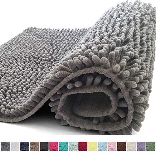 Kangaroo Plush Luxury Chenille Bath Rug, 30x20, Extra Soft and Absorbent Shaggy Bathroom Mat Rugs, Washable, Strong Underside, Plush Carpet Mats for Kids Tub, Shower, Bathtub and Bath Room, Gray
