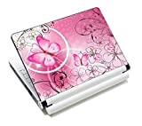 Pink Butterflies & Flowers 11.6 13 13.3 14 15 15.6 inches Netbook Laptop Skin Sticker Reusable Protector Cover Case for Toshiba Hp Samsung Dell Apple Acer Leonovo Sony Asus Laptop Notebook FY-NEK-009