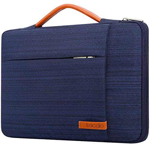 Lacdo 360° Protective Laptop Sleeve Case for 16 inch New MacBook Pro A2141 2019, 15' MacBook Pro Touch Bar 2012-2018, 15 inch Microsoft Surface Book 3 2, 15 inch Dell XPS, Computer Notebook Bag, Blue