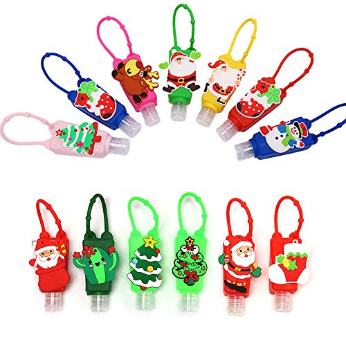 FSYEEL 10 PCS Mini Cute Cartoon Christmas Hand Sanitizer Holder with Silicone Case Xmas Tree Elk Empty Travel Bottle Keychain Carriers, Refillable Soap Lotion Liquid Dispenser Containers, Random Color