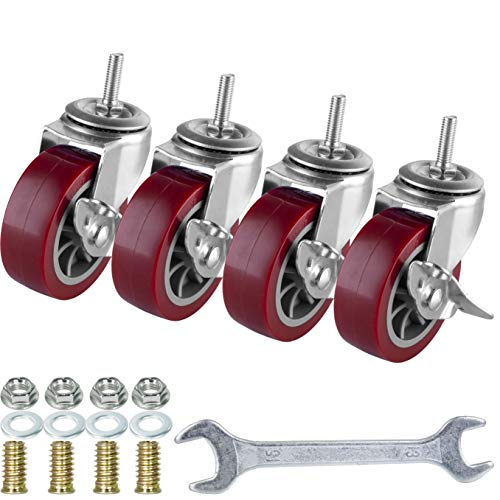 3 Inch Swivel Caster Wheels Set of 4, Locking Casters Heavy Duty Total Capacity 330lbs, Metric M8-1.25 Threaded Stem PU Casters with Brake, Castors for Carpet Hardwood Floor Workbench Bed Frame.