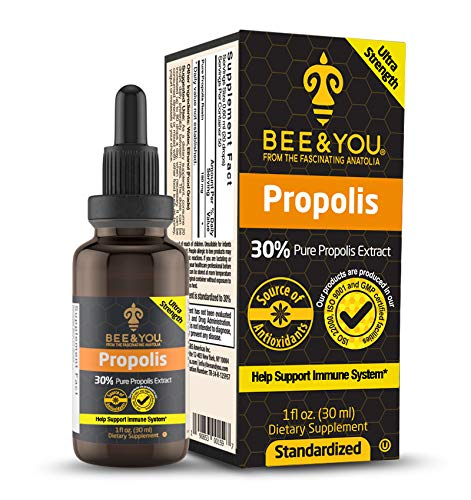 BEE&YOU Propolis 30% Pure Liquid Extract - Ultra Potency - Zero Sugar - Zero Calorie - Supports Healthy Immune System - Sore Throat Relief Antioxidants, Keto, Paleo, Gluten-Free, 1 Fl Oz…