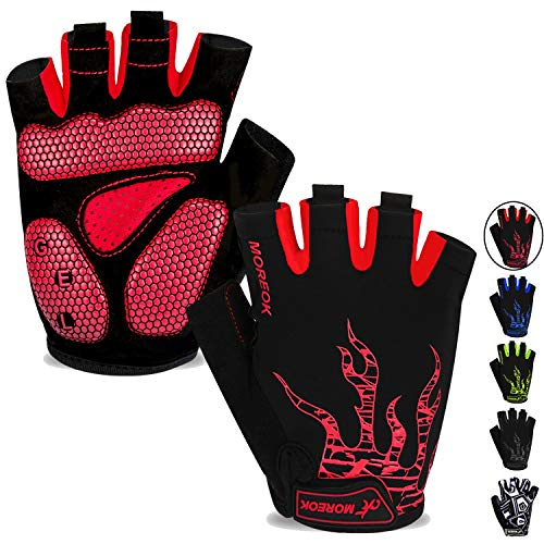 MOREOK Mens Cycling Gloves,Half Finger Biking Glove MTB DH Road Bicycle Gloves Gel Pad Shock-Absorbing Anti-Slip Breathable Motorcycle Mountain Bike Gloves Unisex Women AK050-Red-L