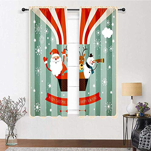 carmaxs Bedroom Curtains Santa Energy Efficient Drapes Father Christmas Deer and Snowman on a Hot Air Balloon Snowflakes in Retro Style 2 Panels 96' x 72' Multicolor