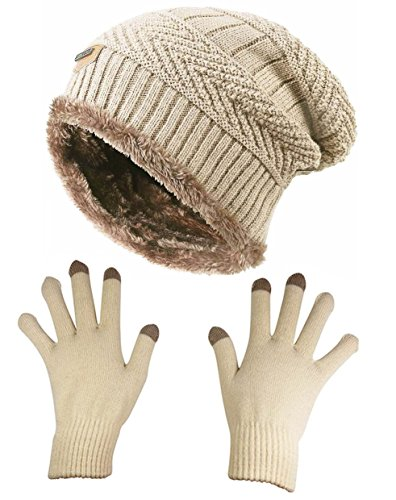HINDAWI Slouchy Beanie Gloves for Women Winter Hat Knit Warm Skull Cap Touch Screen Mittens Beige